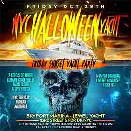 NYC Halloween Friday Sunset Ghost Yacht Cruise Skyport Marina Jewel Yacht