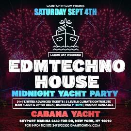 LDW EDM Techno House Saturday Midnight Yacht Cruise Skyport Marina Cabana