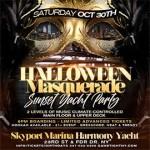 NYC Halloween Masquerade Saturday Sunset Yacht Party Skyport Marina Harmony