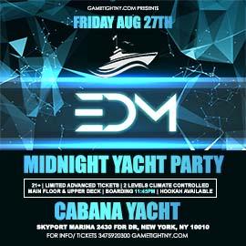 NYC EDM Techno House Friday Midnight Cruise Skyport Marina Cabana Yacht