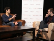 Adrian Grenier discussing his whale project with HuffPost Live at ChefDance Media Lounge