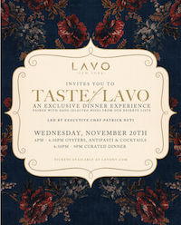 Taste of LAVO – An Exclusive Dinner