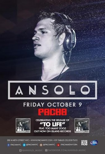 Giveaway: 2 Tickets to Ansolo Release Party this Friday @ Pacha