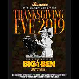 Bounce Sporting Club NYC Thanksgiving Eve Party 2019