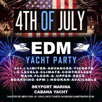 July 4th EDM Sunday Sunset Yacht fire works Skyport Marina Cabana Yacht