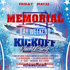 NYC Memorial Day Weekend Kickoff Yacht Party Cruise 2020