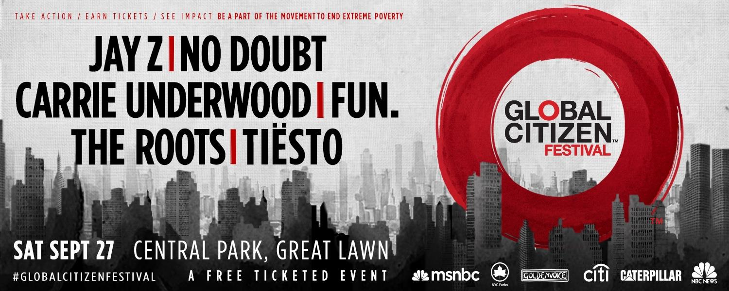 Global Citizen Festival with Jay Z, fun., No Doubt, Carrie Underwood, The Roots, and Tiësto