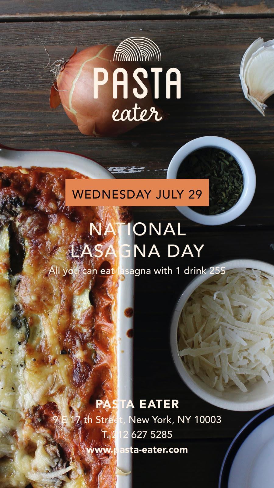 National Lasagna Day at Pasta Eater