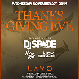 Lavo Nightclub NYC Thanksgiving Eve Party