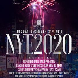 Highbar New Years Eve NYE 2020