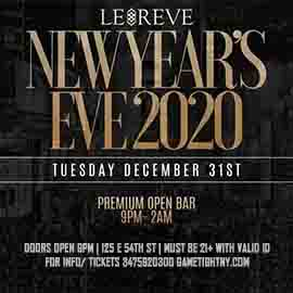 Le Reve NYC 5 Hours Openbar New Years Eve 2020