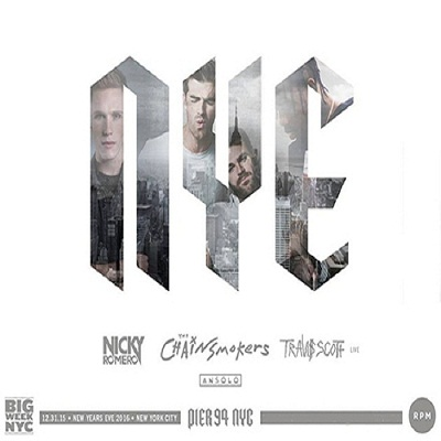 NEW YEARS EVE 2016 at PIER 94 with CHAINSMOKERS and NICKY ROMERO