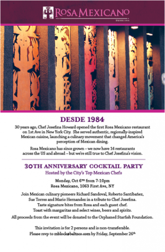 Rosa Mexicano's 30th Anniversary Cocktail Party