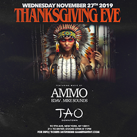 Tao Downtown NYC Thanksgiving Eve 2019