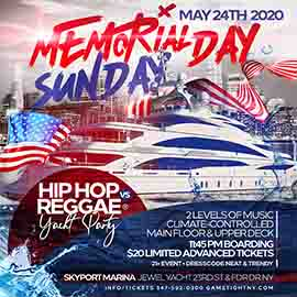 NYC Hip Hop vs. Reggae Memorial Day Weekend Yacht Party 2020